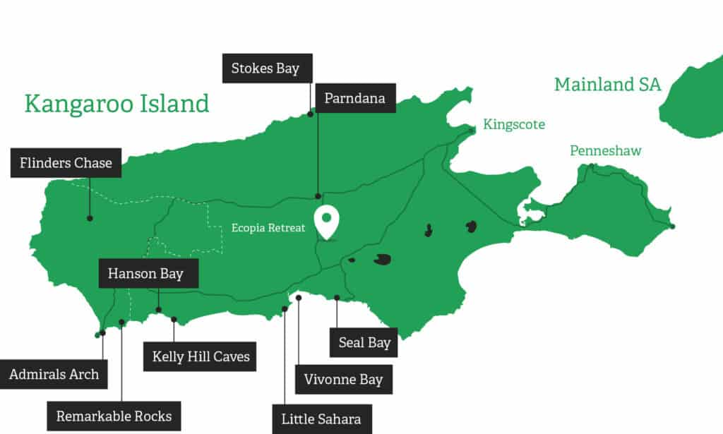 kanagroo island attractions Map